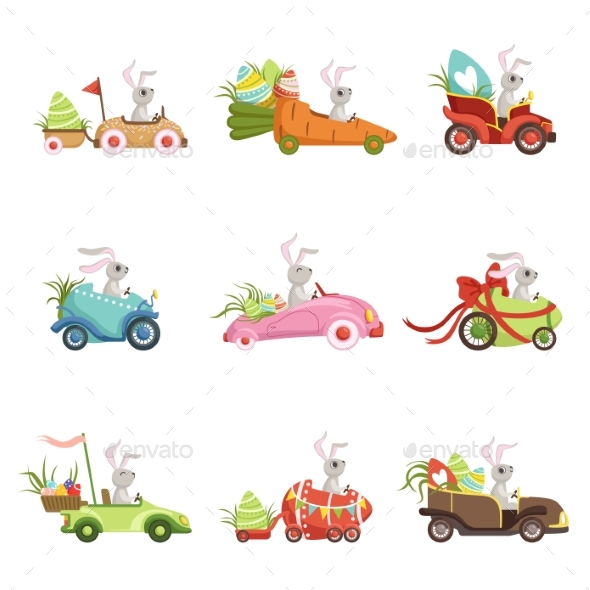 Bunnies Driving Vintage Car - Miscellaneous Seasons/Holidays