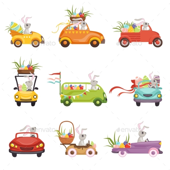 Bunnies Driving Vintage Car Decorated - Miscellaneous Seasons/Holidays