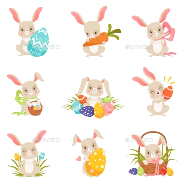 Cartoon Bunnies Holding Colored Eggs Set - Miscellaneous Seasons/Holidays