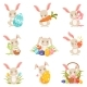 Cartoon Bunnies Holding Colored Eggs Set