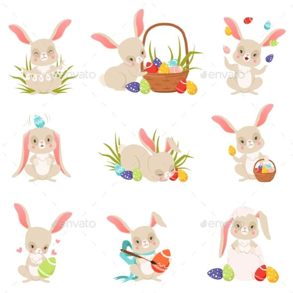Cartoon Bunnies Holding and Eggs Set - Miscellaneous Vectors