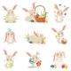 Cartoon Bunnies Holding and Eggs Set