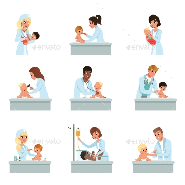 Pediatrician Doctors Doing Medical Examination - Health/Medicine Conceptual