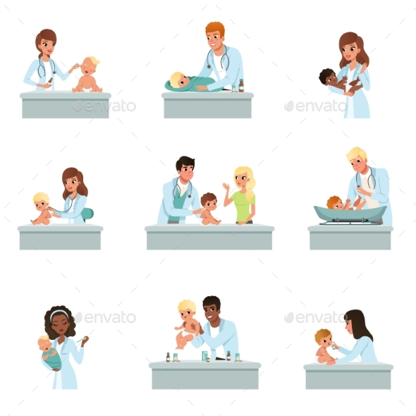 Pediatrician Doctors Doing Medical Examination - Health/Medicine Conceptual