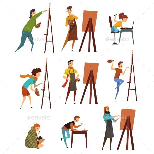 Artists Painting on Canvas Set - Miscellaneous Vectors