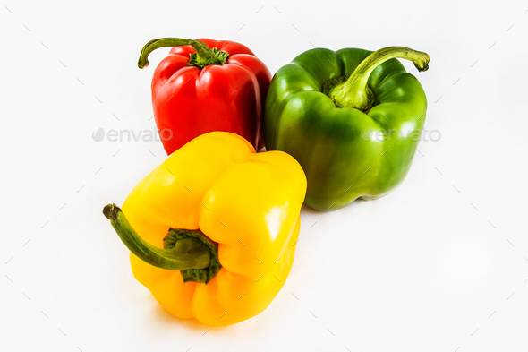 Fresh peppers. Three sweet Red, Yellow, Green Peppers isolated on white background. - Stock Photo - Images