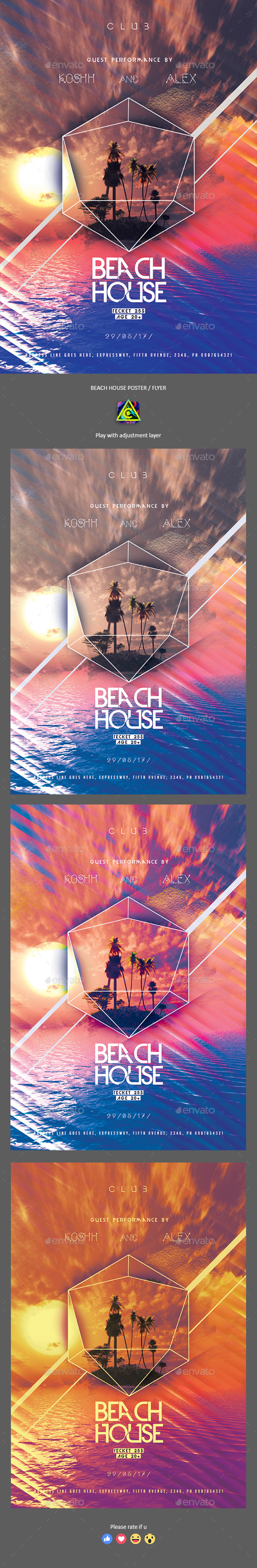 Beach House Poster / Flyer - Clubs & Parties Events