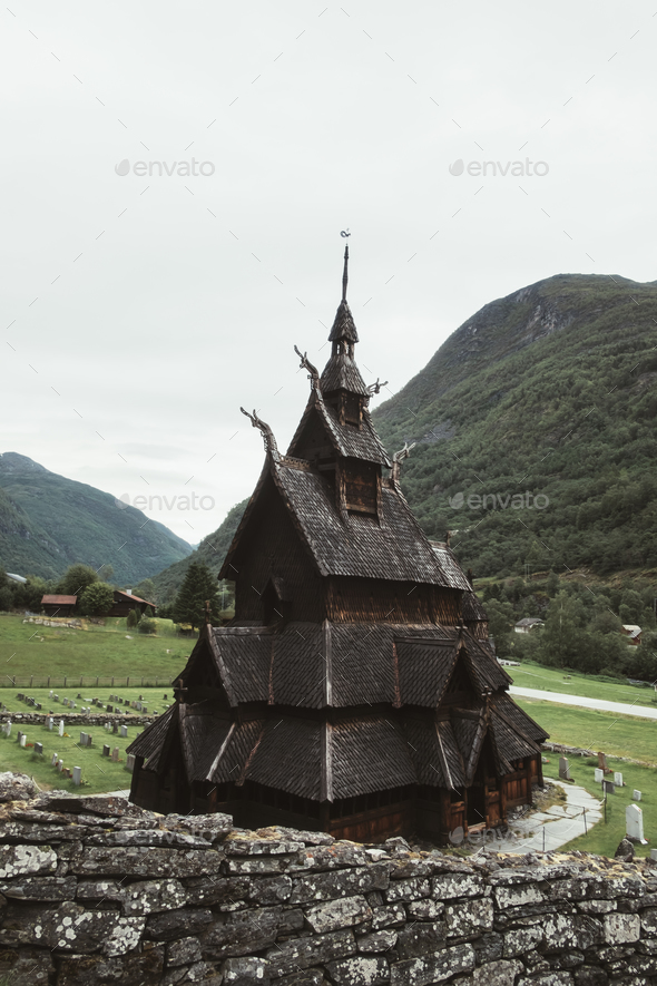 Old wooden Borgund Stave Church - Stock Photo - Images