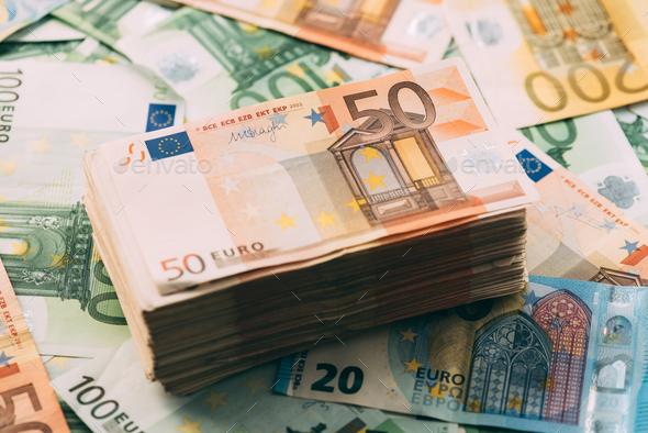 Euro cash stack closeup - Stock Photo - Images