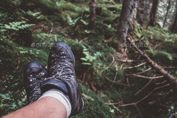 Man legs in hiking boots - Stock Photo - Images