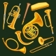 Set of Woodwind and Brass Musical Instruments