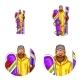 Vector Set of Male Avatars in Pop Art Style