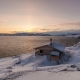 Cottage on the Shore of the Arctic Ocean at Dawn in Winter - VideoHive Item for Sale