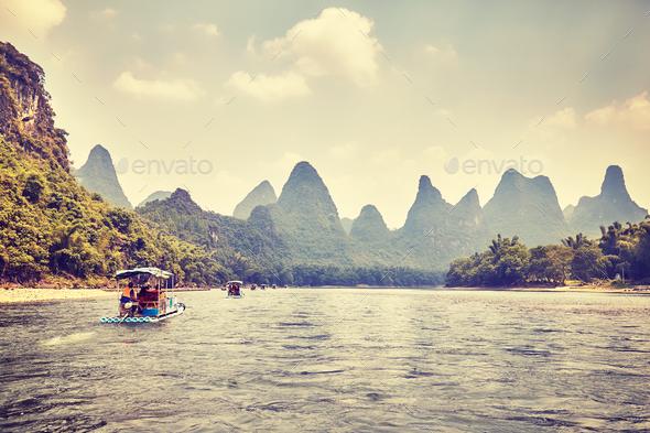Li River (Li Jiang) with bamboo rafts, China. - Stock Photo - Images