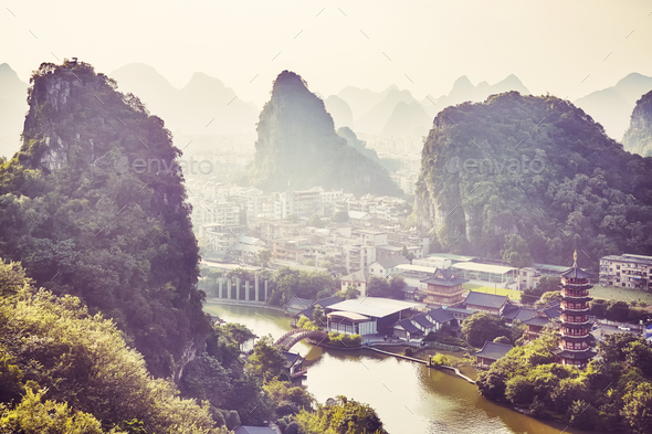 Sunset over Karst mountains formations in Guilin, China. - Stock Photo - Images