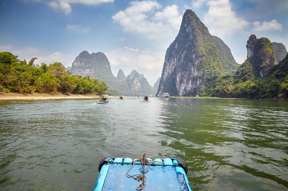 Li River bamboo raft from Guilin to Xingping, China. - Stock Photo - Images