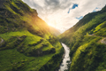 Amazing mountains covered green grass, river at sunset - PhotoDune Item for Sale