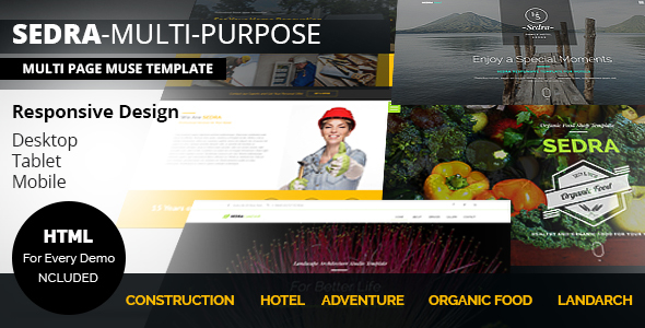 SEDRA Multi-Purpose Responsive Muse Template - Corporate Muse Templates