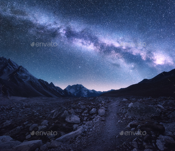 Space. Milky Way, mountains and trail at night - Stock Photo - Images