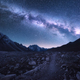 Space. Milky Way, mountains and trail at night - PhotoDune Item for Sale