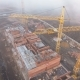 Construction Site in the Fog with a Bird's Eye with Tower Cranes on the Sunset - VideoHive Item for Sale