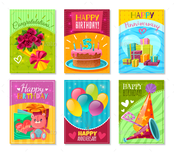 Happy Birthday Greeting Cards - Miscellaneous Vectors
