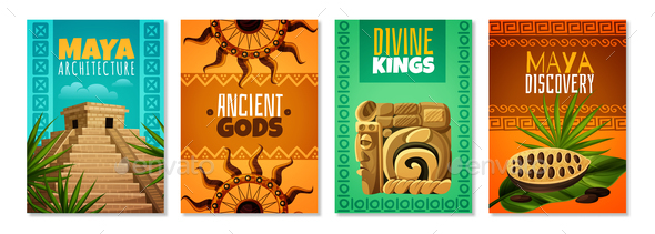 Maya Civilization Cartoon Posters - Religion Conceptual