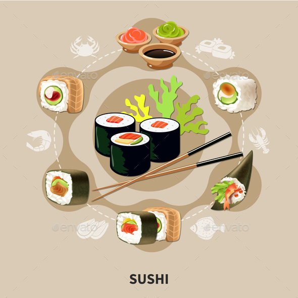 Flat Sushi Composition - Food Objects