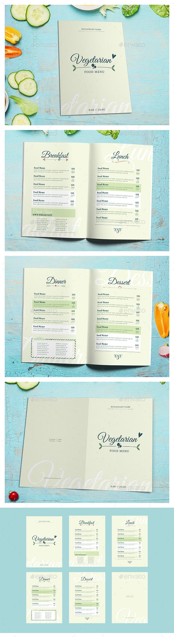 Vegetarian Food menu II - Food Menus Print Templates