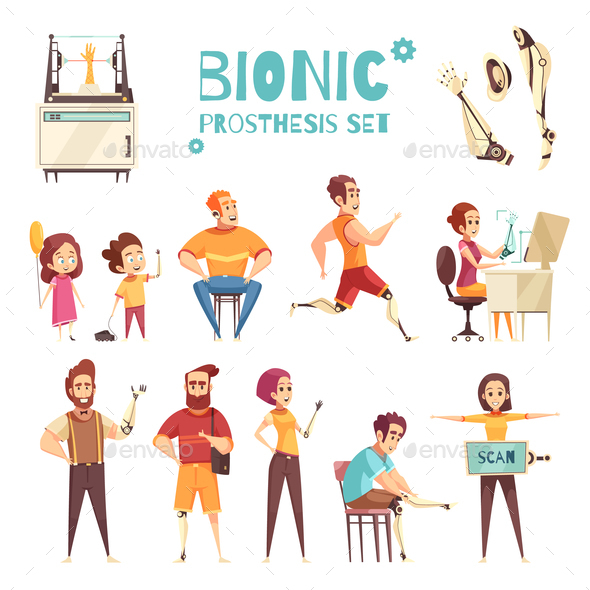 Bionic Prothesis Cartoon Icons Set - Health/Medicine Conceptual