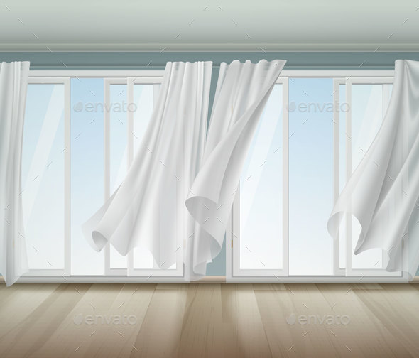 Billowing Curtains Open Window Illustration - Backgrounds Decorative