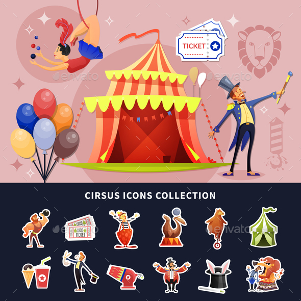 Circus Cartoon Colored Composition - Animals Characters