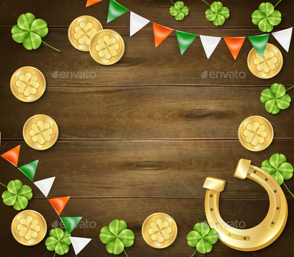 Saint Patricks Day Wooden Background - Patterns Decorative