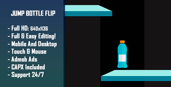 Jump Bottle Flip - HTML5 Game + Mobile Version! (Construct-2 CAPX) - CodeCanyon Item for Sale