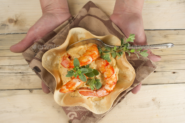Chickpea and prawn cream - Stock Photo - Images