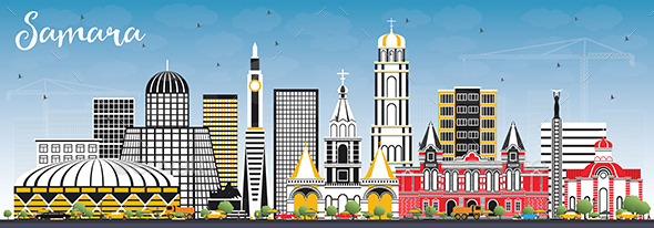 Samara Russia City Skyline with Color Buildings and Blue Sky. - Buildings Objects