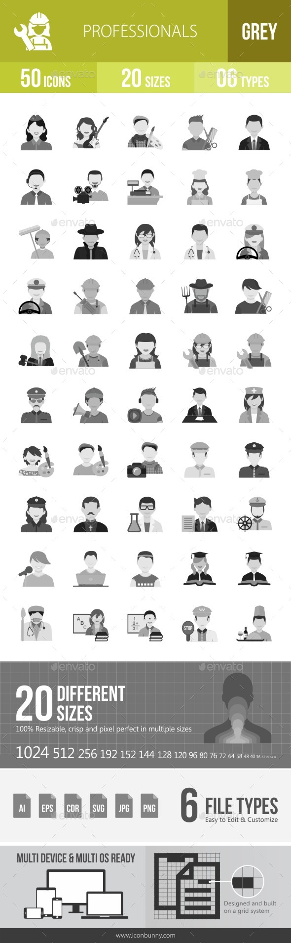 50 Professionals Grey Scale Icons - Icons