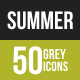 50 Summer Grey Scale Icons