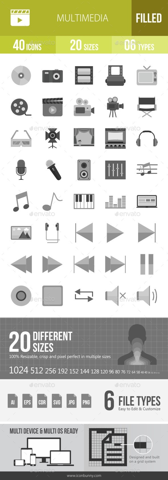 40 Multimedia Grey Scale Icons - Icons