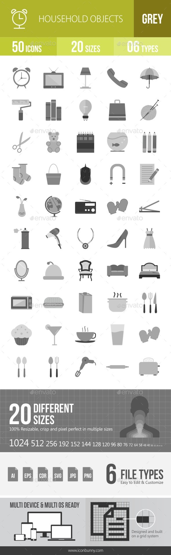 50 Household Objects Grey Scale Icons - Icons