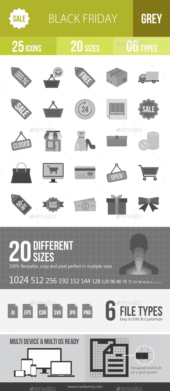 25 Black Friday Grey Scale Icons - Icons