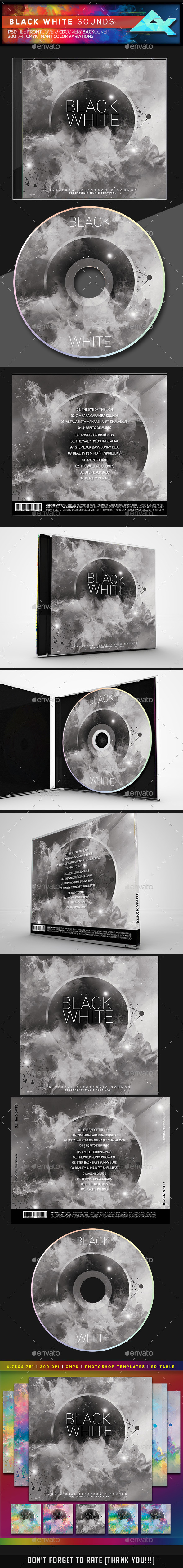 Black White Sounds CD/DVD Photoshop Template - Flyers Print Templates