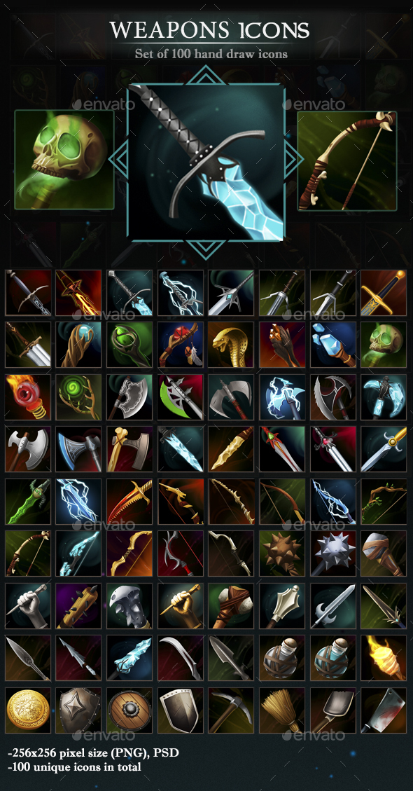 Weapons Icons - Miscellaneous Game Assets