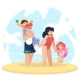 Happy Family at the Beach. Family Having Fun at