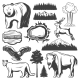 Vintage Yellowstone National Park Icons Set - GraphicRiver Item for Sale