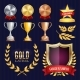 Vector Awards And Trophies Collection. Golden