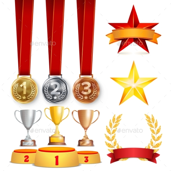 Trophy Awards Cups, Golden Laurel Wreath With Red - Sports/Activity Conceptual