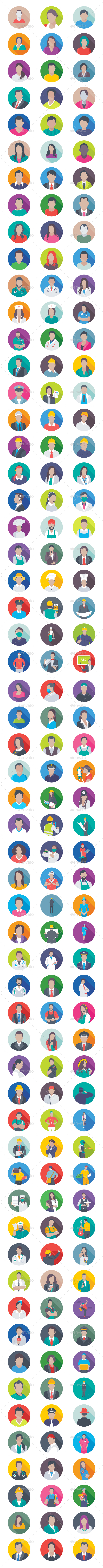 175 Professions Flat Icons - Icons