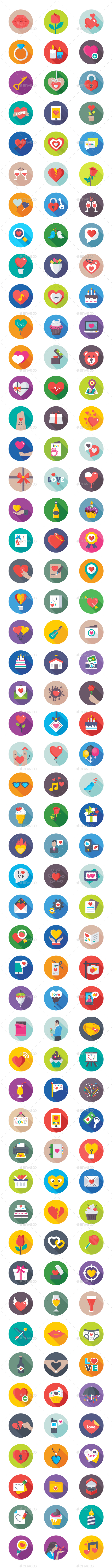 150 Flat Love and Valentine Icons - Icons