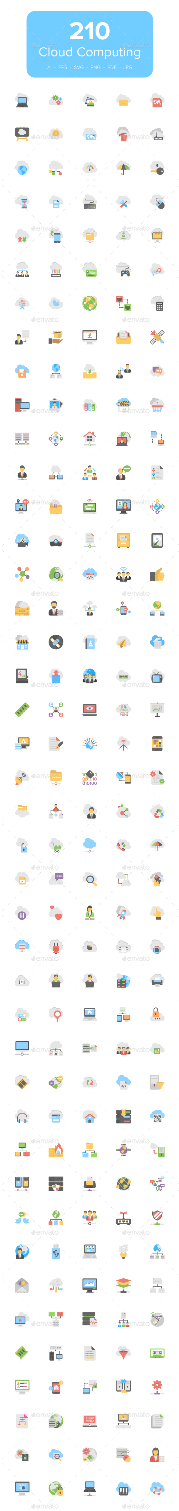 210 Flat Cloud Computing Icons - Icons